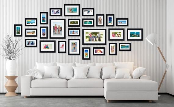 קיר משפחה דגם 108 - סט מדהים של 26 תמונות ממוסגרות בסגנון קלאסי