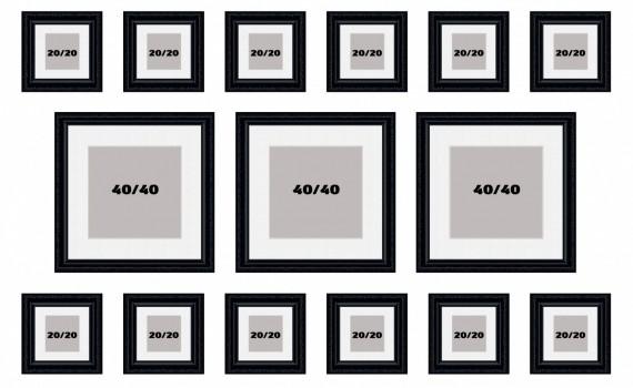 קיר משפחה דגם 109- סט מדהים של 15 תמונות ממוסגרות בסגנון קלאסי