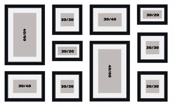 קיר משפחה דגם 110 - סט מדהים של 10 תמונות ממוסגרות בסגנון קלאסי