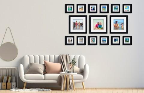 קיר משפחה - סט דגם 109 - 15 תמונות ממוסגרות בהתאמה אישית
