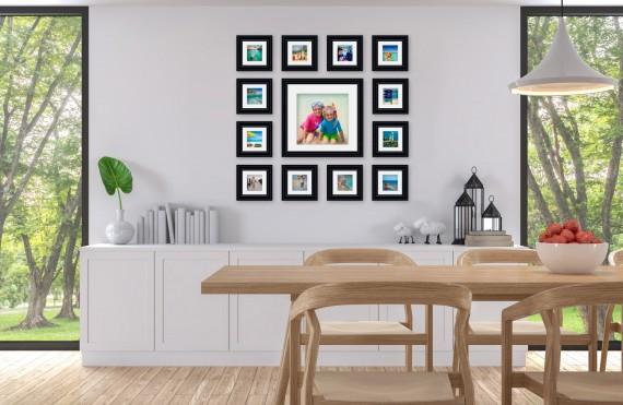 קיר משפחה דגם 102 - סט מדהים של 13 תמונות ממוסגרות בסגנון קלאסי
