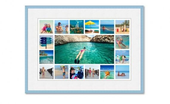 קולאז' תמונות ממוסגר עם מסגרת ופספרטו