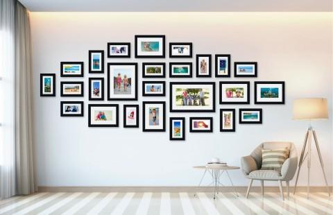 קיר משפחה - סט דגם 108 - 26 תמונות ממוסגרות בהתאמה אישית