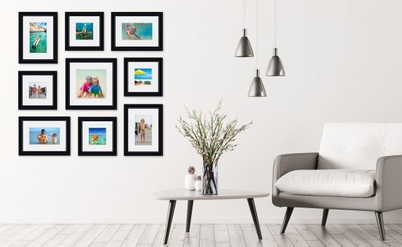קיר משפחה (גלריה) דגם 101- סט מדהים של 9 תמונות ממוסגרות בסגנון קלאסי