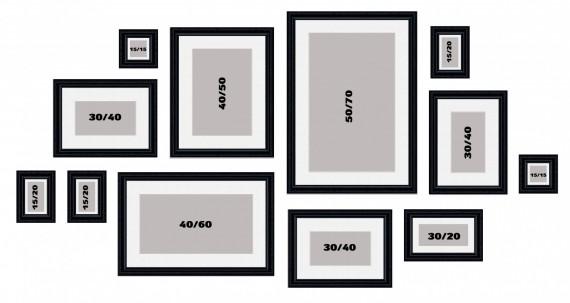 קיר משפחה דגם 106 - סט מדהים של 12 תמונות ממוסגרות בסגנון קלאסי