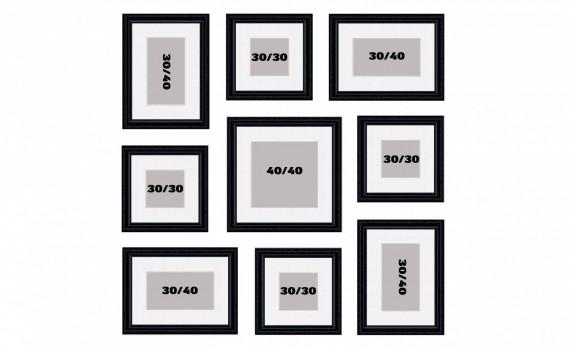 קיר משפחה דגם 101 - סט מדהים של 9 תמונות ממוסגרות בסגנון קלאסי