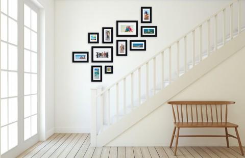 קיר משפחה - סט דגם 112 - 11 תמונות ממוסגרות בהתאמה אישית