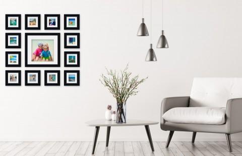 קיר משפחה - סט דגם 102 - 13 תמונות ממוסגרות בהתאמה אישית