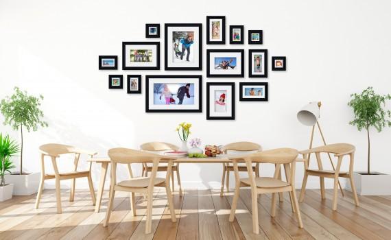 קיר משפחה (גלריה) דגם 105- סט מדהים של 15 תמונות ממוסגרות בסגנון קלאסי