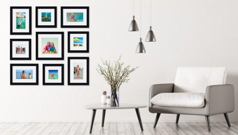 קיר משפחה - סט דגם 101 - 9 תמונות ממוסגרות בהתאמה אישית