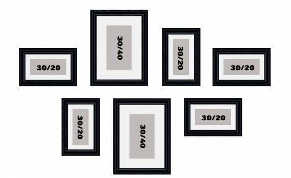 קיר משפחה דגם 103 - סט מדהים של 7 תמונות ממוסגרות בסגנון קלאסי