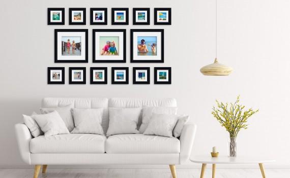 קיר משפחה (גלריה) דגם 109- סט מדהים של 15 תמונות ממוסגרות בסגנון קלאסי