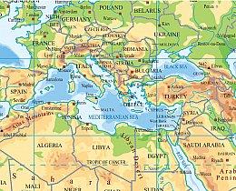 מפת העולם יבשות פיזית