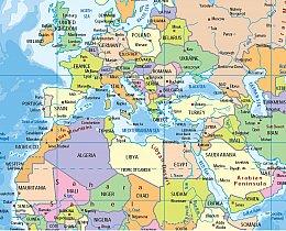 מפת העולם מדינות מדינית
