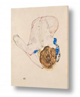 אמנים מפורסמים אגון שילה | אישה עם גרביים כחולים