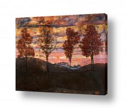 אמנים מפורסמים אגון שילה | ארבעה עצים Four trees
