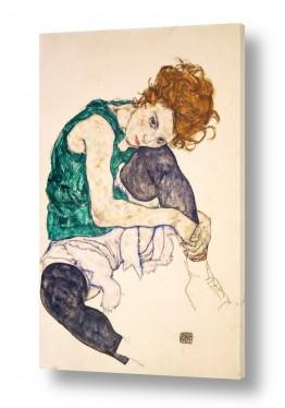 אמנים מפורסמים אגון שילה | אישה עם רגליים משוכות