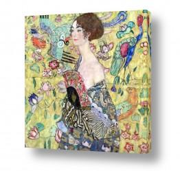 אמנים מפורסמים גוסטב קלימט | אישה עם מניפה