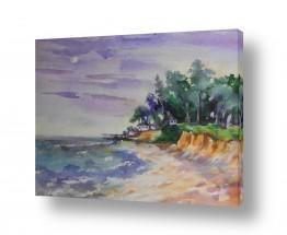 ציורים ציור בצבעי מים | ביתי כחול