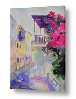 ציורים עירוני וכפרי | ערב אדום