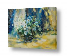 ציורים ציורים אנרגטיים | לבן בכחול