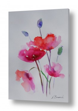 תמונות לפי נושאים צבעי אקריליק | פרחים עדינים