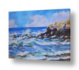 ציורים ציור בצבעי מים | גלים