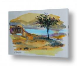 ציורים מים | נוף בצהוב
