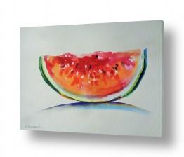 ציורים ציור בצבעי מים | חיוך אבטיח