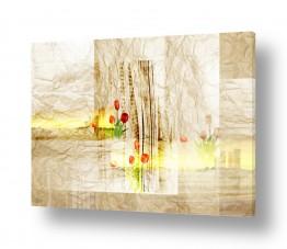 ציורים קולאג'ים | פרחים על נייר