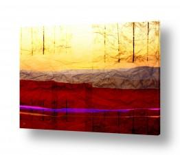 ציורים קולאג'ים | אופק ועצים על נייר