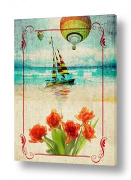 ציורים רטרו | נוף ים