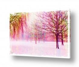 ציורים אבסטרקט | עצים בסגול