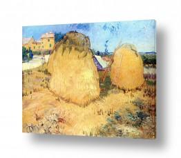 אמנים מפורסמים וינסנט ואן גוך | Haystacks near a Farm