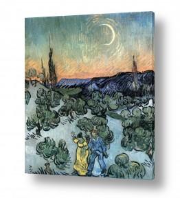 אמנים מפורסמים וינסנט ואן גוך |  Couple Walking and moon