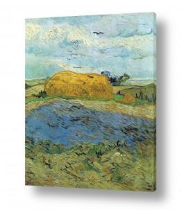 אמנים מפורסמים וינסנט ואן גוך | haystack under  rainy sky