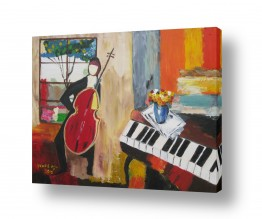 ציורים ורד אופיר | אדם וכינור