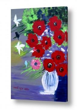 ציורים ורד אופיר | אגרטל ציפורים