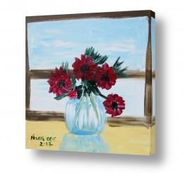 ציורים ורד אופיר | אגרטל פרחים