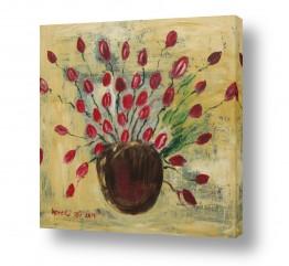 טבע דומם אגרטל פרחים | טוליפים