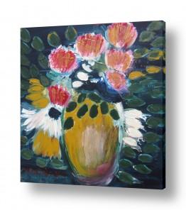ציורים ורד אופיר | כד פרחים