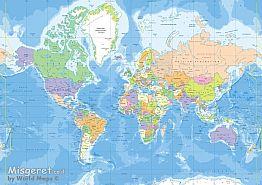 מפת עולם - פוליטי מדינ