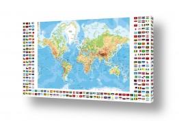 תמונות לפי נושאים מפה | מפת העולם עם דגלי ארצות