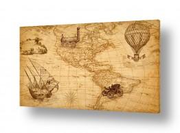 כלי שייט סירה | מפת עולם רטרו