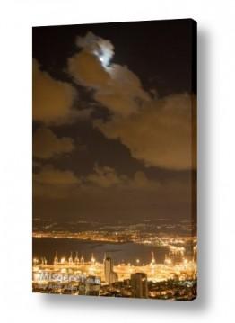 ערים בישראל חיפה   ירח על מפרץ חיפה