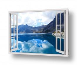 נושאים תמונות נופים נוף   הרים ואגם מבעד חלון