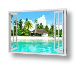בקתה על אי מבעד חלון