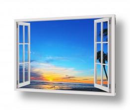 תמונות נופים נוף שקיעות | שקיעה מבעד לחלון
