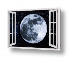 נושאים חלל ואסטרונומיה | ירח מלא בחלון