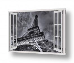 שילובים של צבע שחור שחור לבן | חלון מגדל אייפל
